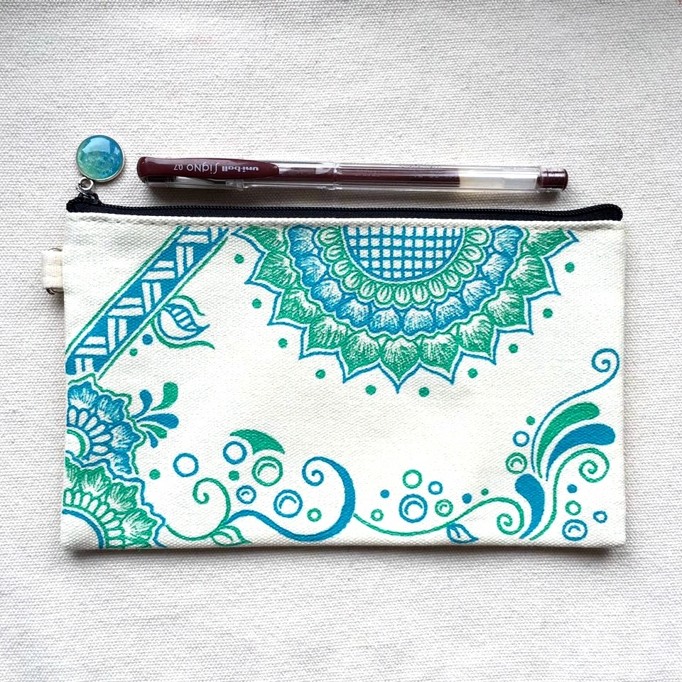 creative ideas using henna patterns in crafts pencil case