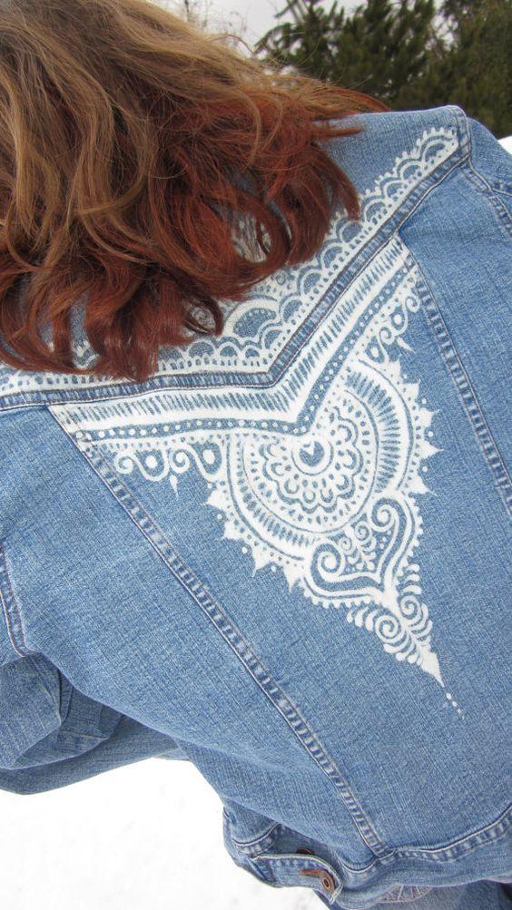 creative ideas using henna patterns in crafts jacket