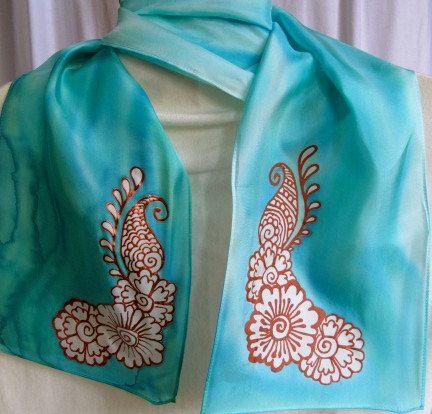 creative ideas using henna patterns in crafts scarf