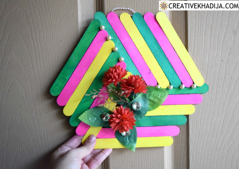 Diy Popsicle Stick Craft Colorful Wall Art Idea For Home Decor