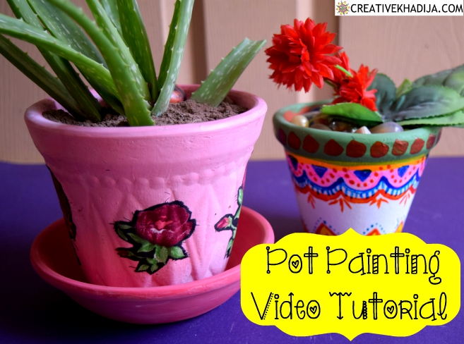 Easy Pot Painting Idea and Decoupage Video Tutorial