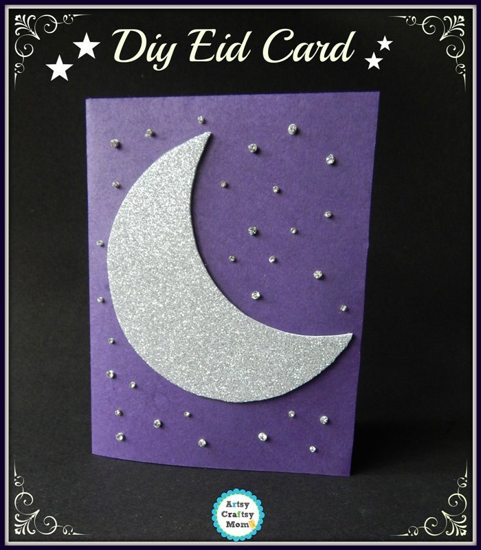 eid greeting card design for kids crescent design