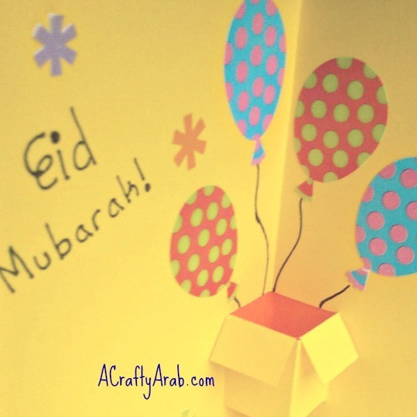 eid greeting card design for kids balloon card