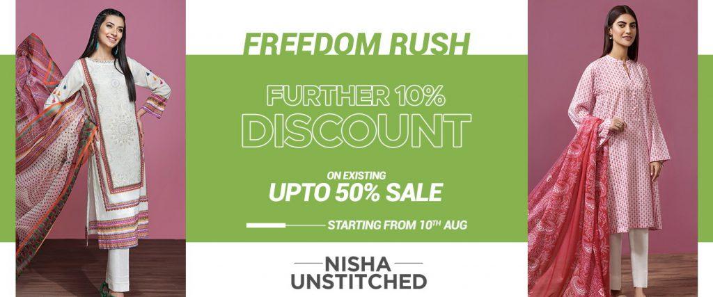 azadi deals and discounts on pakistani designer lawn brands nishat