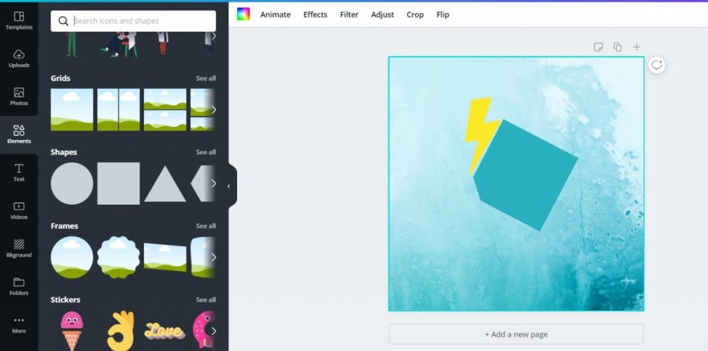 Add elements To Build a Logo Using free logo design app Canva