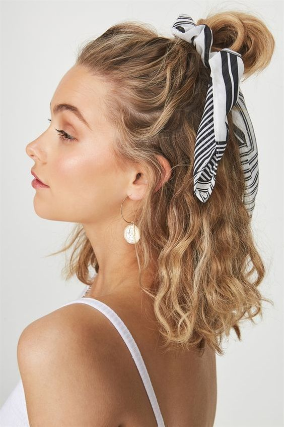 easy hairstyles for curly hair tie up pony