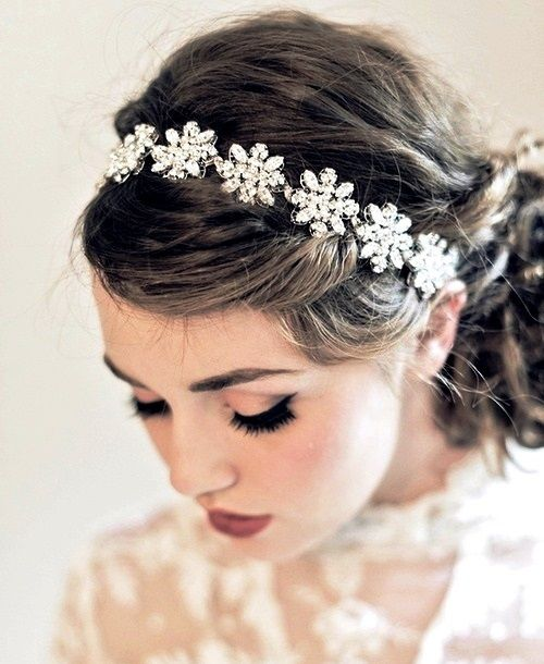 easy hairstyles for curly hair floral hairband