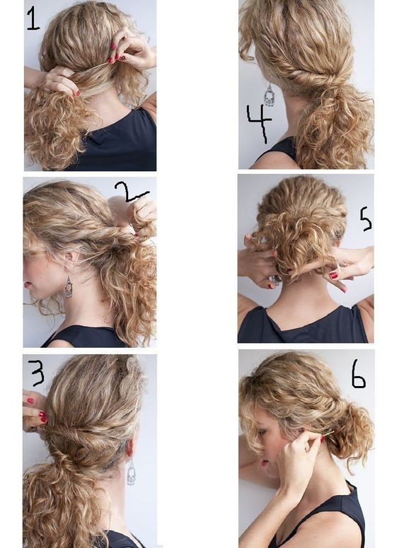 how to style curly hair low bun