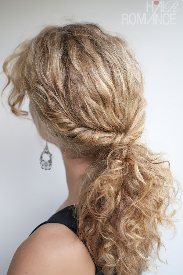 how to style curly hair twisted pony tail
