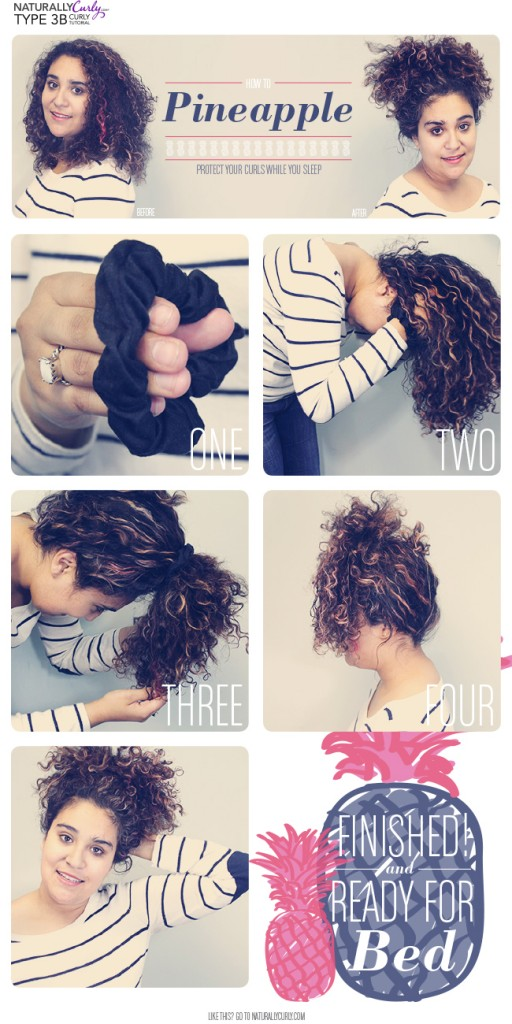 how to style curly hair pineapple bun