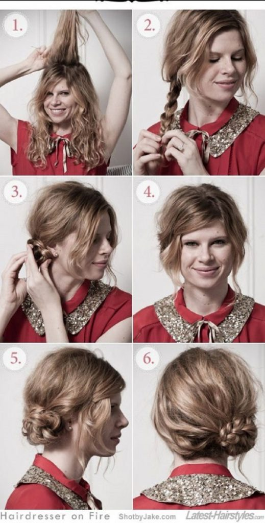 how to style curly hair chignon