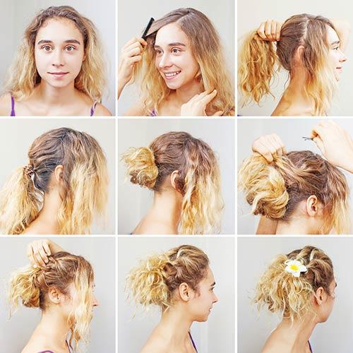 how to style short curly hair cute bun