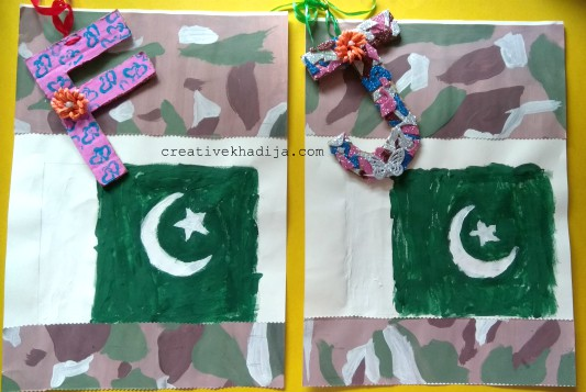 independence day crafts by creative khadija flag painting