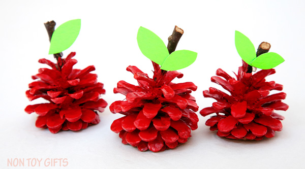 arts and crafts fun fall activities pinecone apple craft