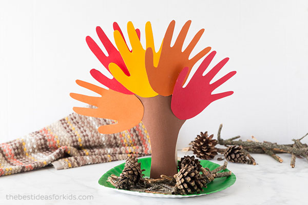 arts and crafts fun fall activities handprint tree art