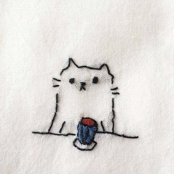 basic embroidery stitches for beginner cute kitty design