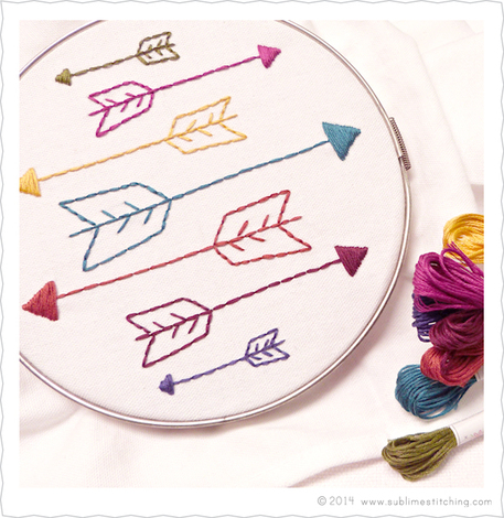 basic embroidery stitches for beginner arrow pattern
