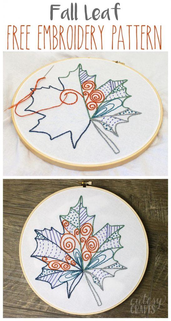 beautiful shirt embroidery design fall leaf