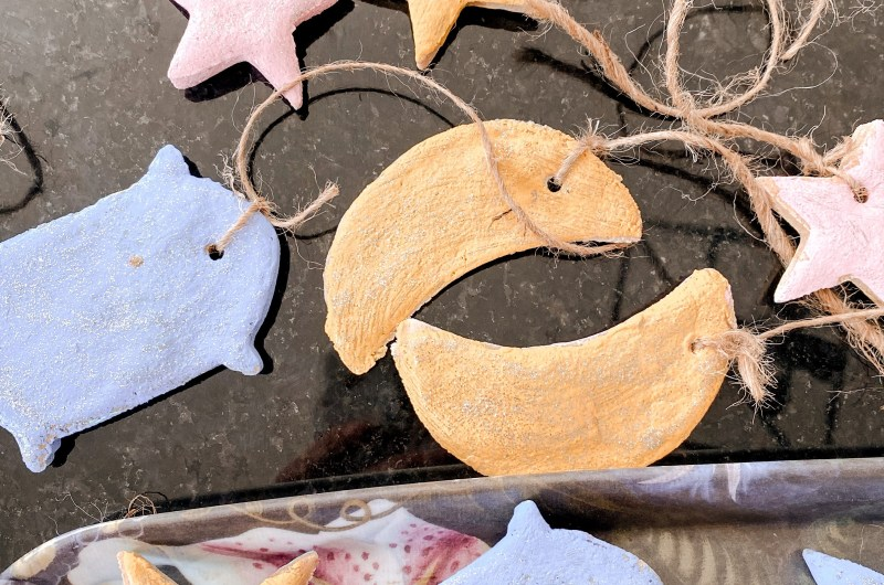 how to make salt dough ornaments moon and star ornament