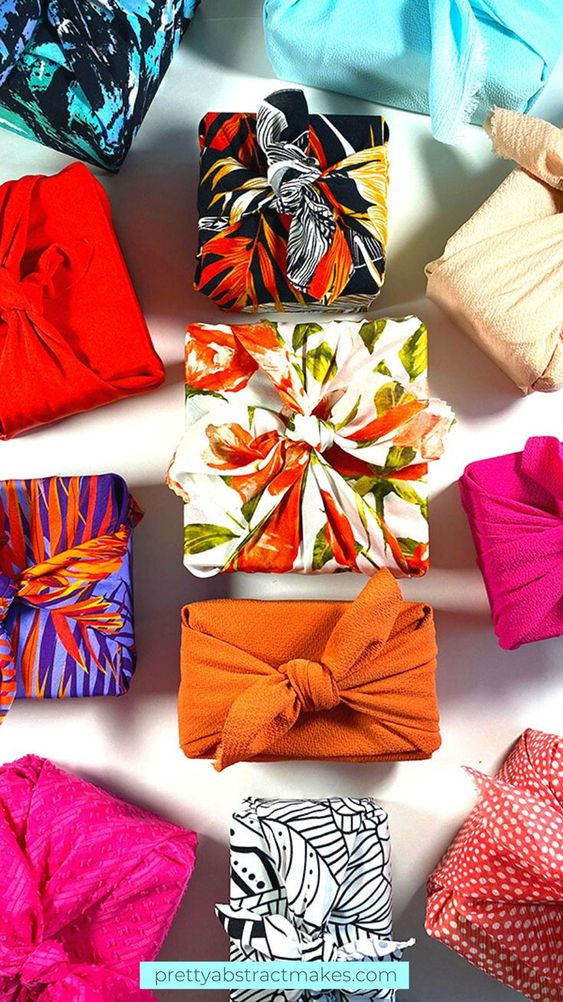 how to wrap a gift fabric wrapping