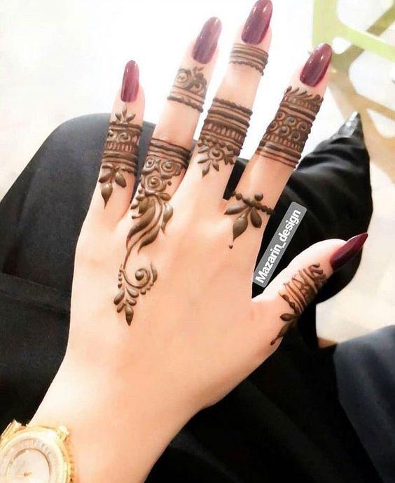 easy henna designs for fingers detailed art