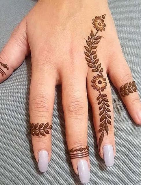 easy henna designs for fingers leafy pattern