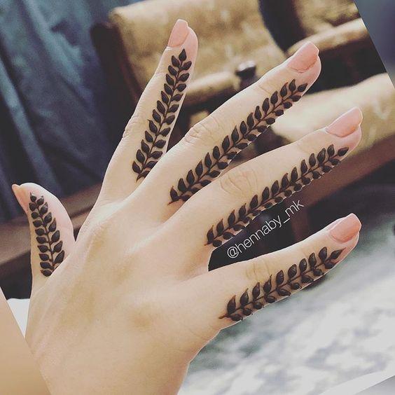 easy henna designs for fingers leaves