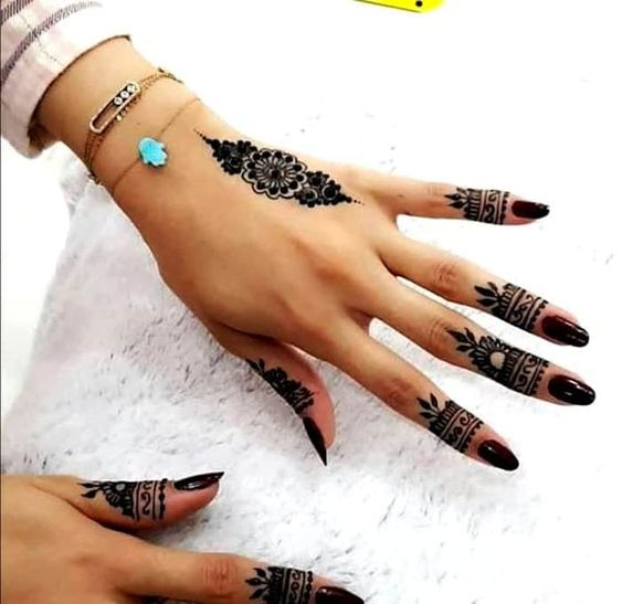 easy henna designs for fingers arabic style