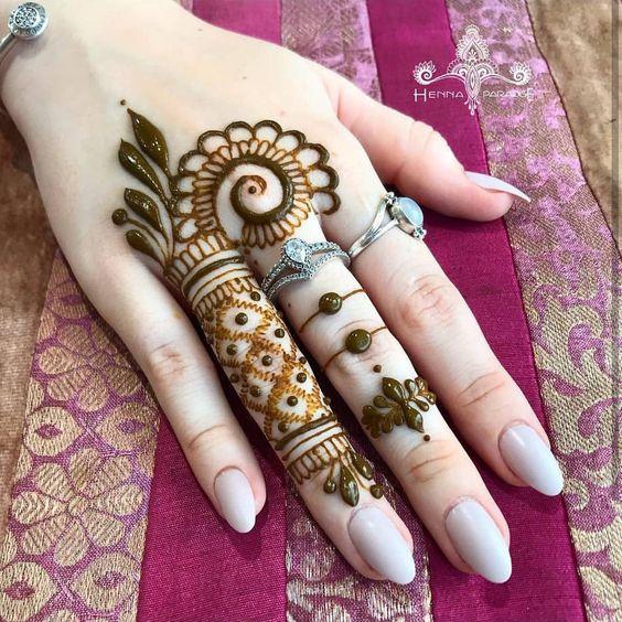 fingers design basic hand henna design