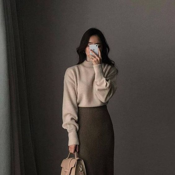 winter inspired outfits to wear to work long skirt