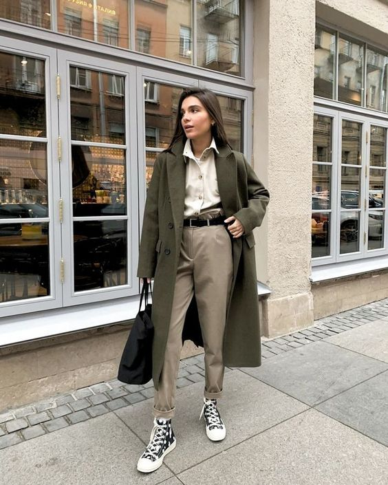 winter inspired outfits to wear to work grey coat