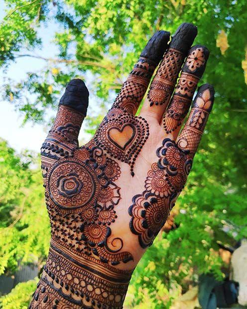 bridal mehndi for hands heart design