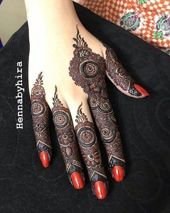 mehndi designs for Eid for fingers heavy design