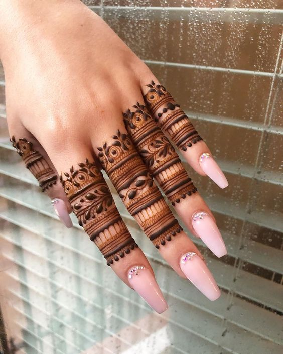 mehndi designs for Eid for fingers neat pattern