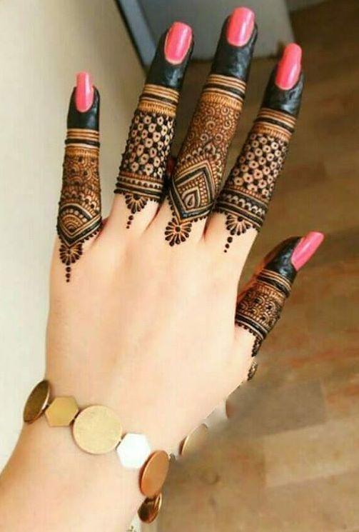 mehndi designs for Eid for fingers traditional design