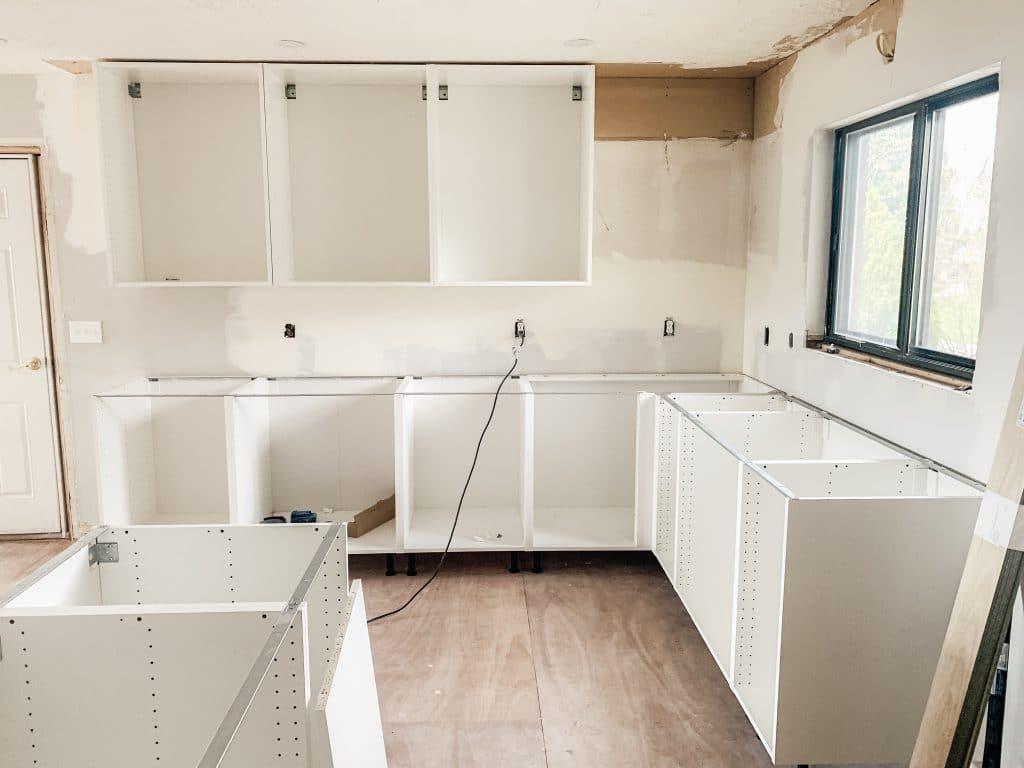 installing IKEA kitchen cabinets use suspension rails