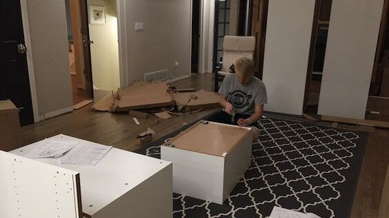 installing IKEA kitchen cabinets use a drop cloth
