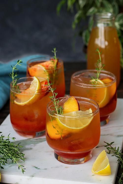 iced summer drink recipes peach thyme tea