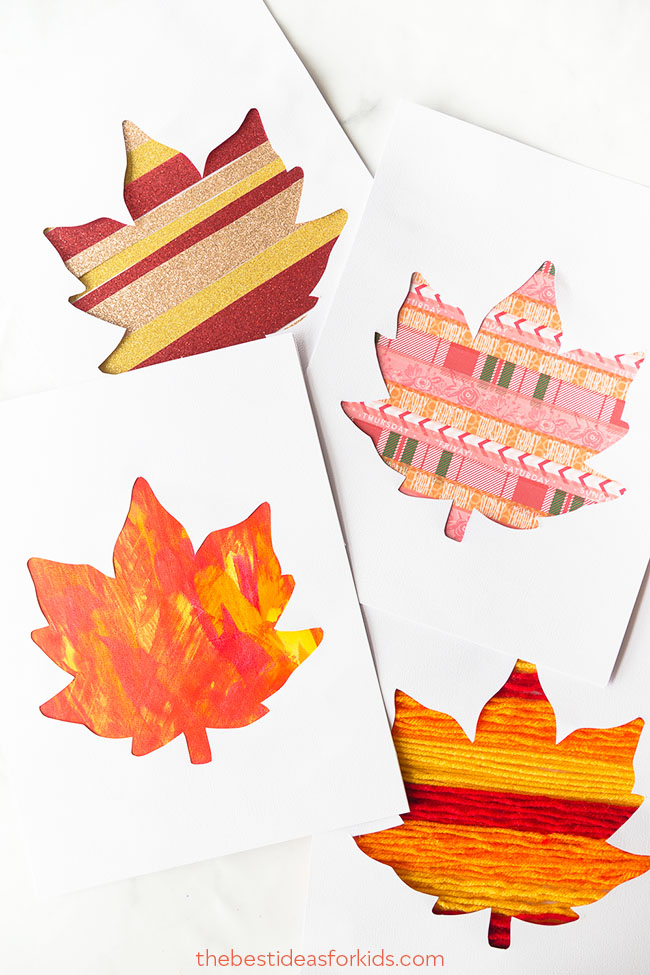 fall creative project ideas for teenagers leaf art cards