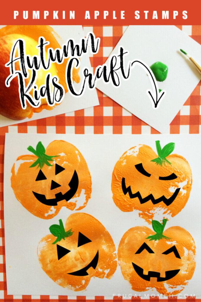 easy paper craft for kids stamped pumpkins
