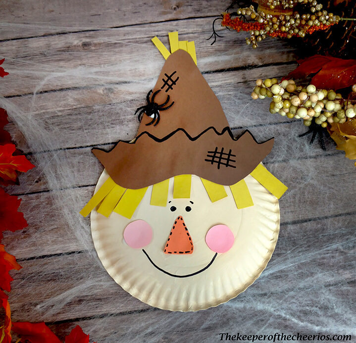 easy paper craft for kids paper plate scare crow