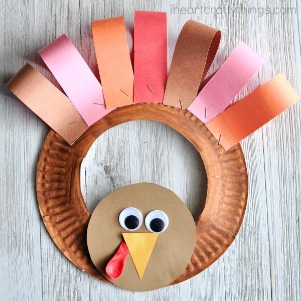 easy paper craft for kids turkey wreath