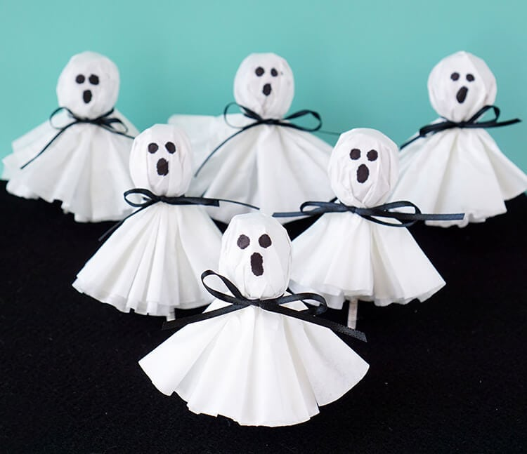 easy paper craft for kids ghost lollipops