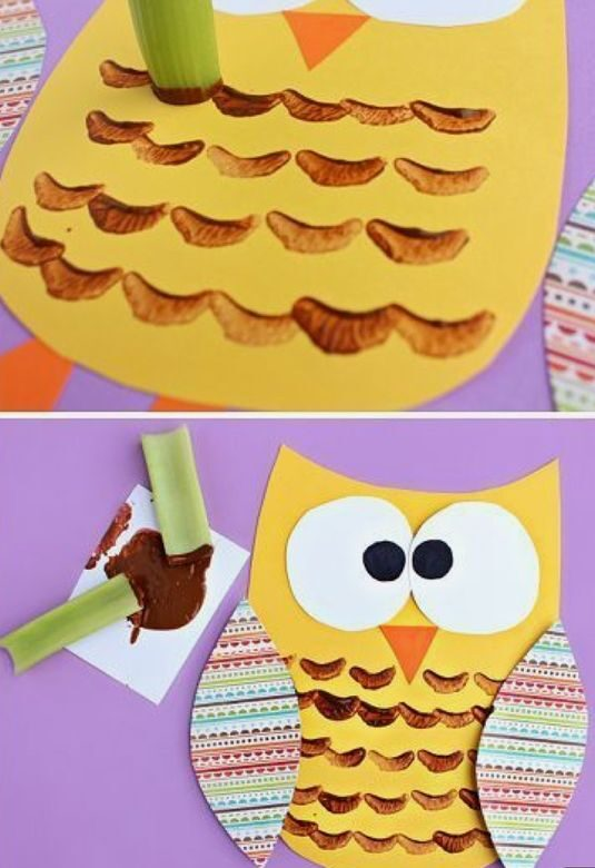 easy paper craft for kids stamped celery owl