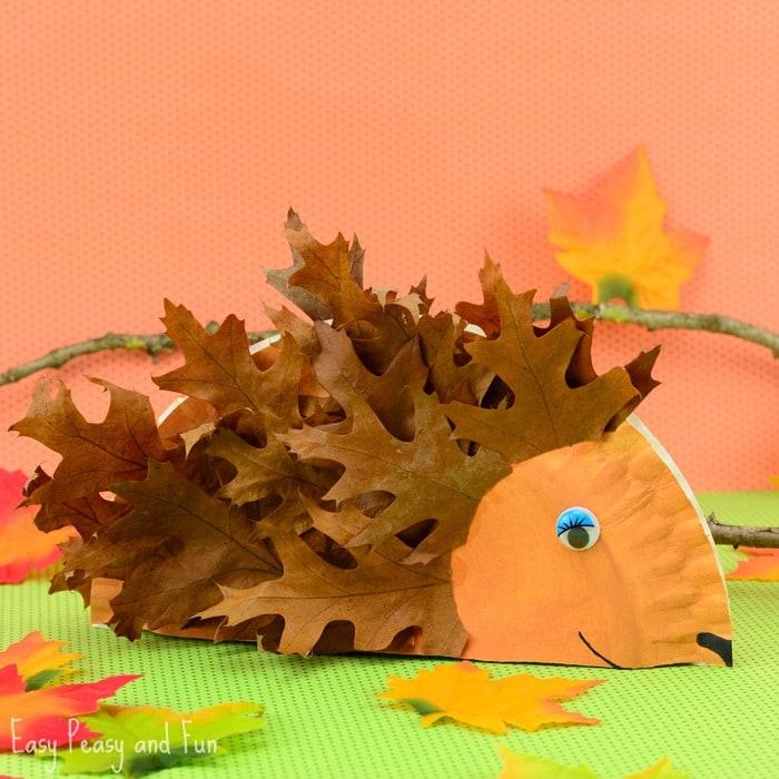 easy paper craft for kids leaves hedgehog