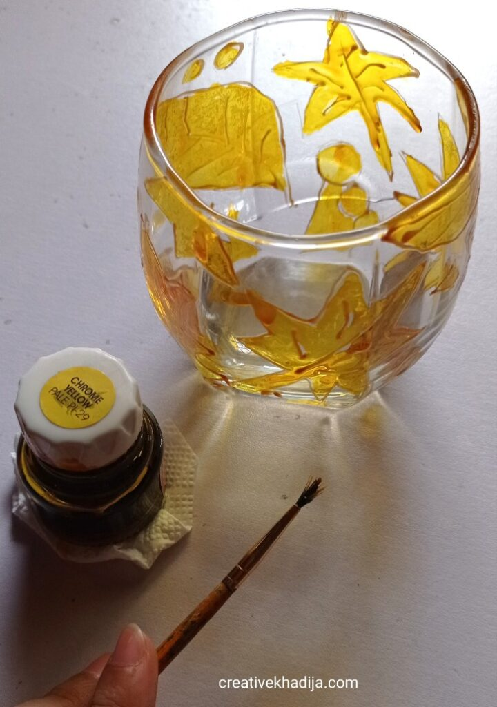 quick and easy fall leaves glass painting