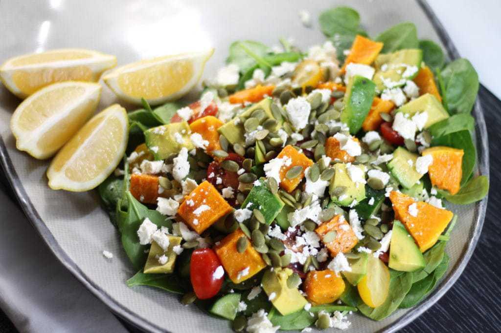 vegan keto salad recipes pumpkin feta salad