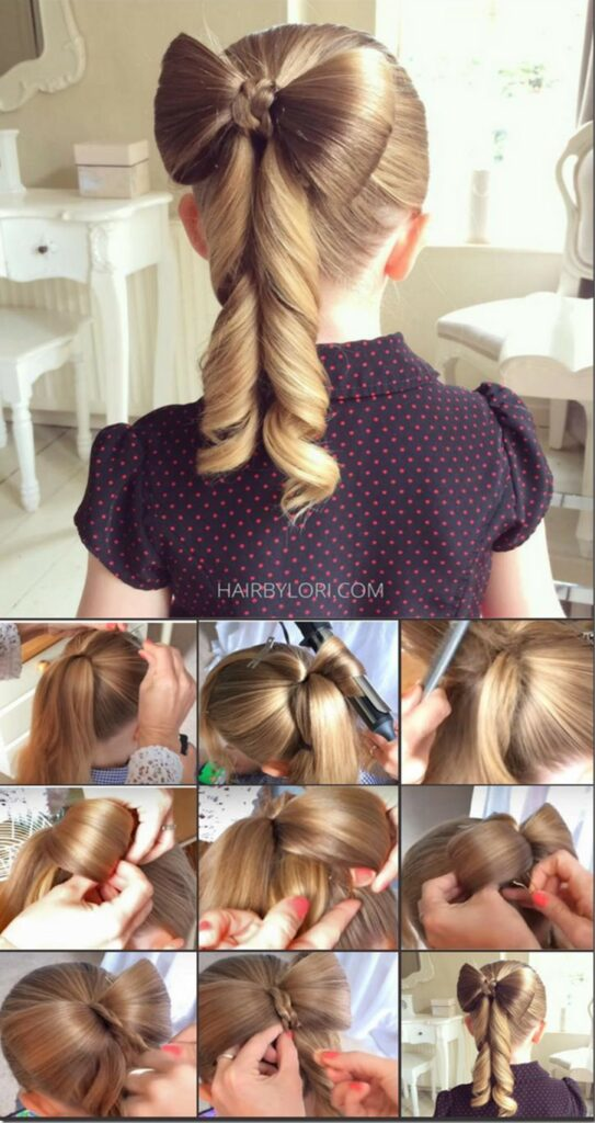 5 minutes little girl hairstyles bowknot ponytail