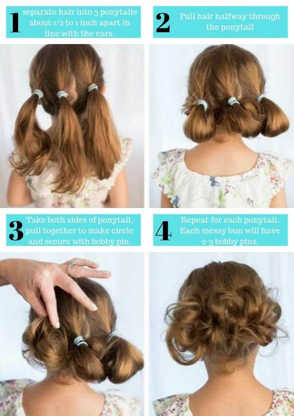 messy bun kids hairstyles for girls